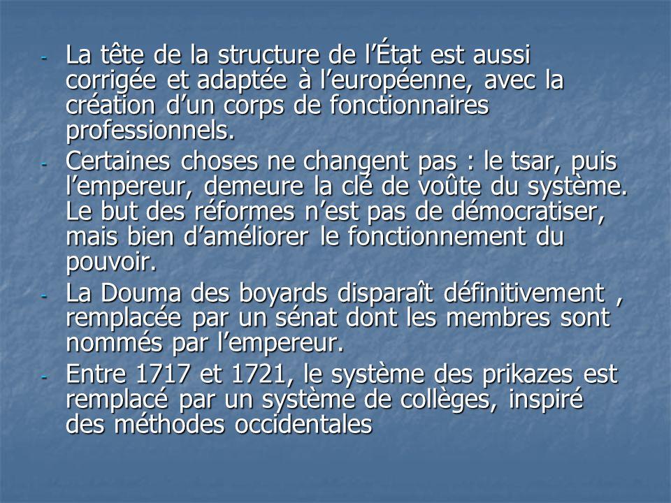 - La tête de la structure de lÉtat est aussi corrigée et adaptée à leuropéenne, avec la création dun corps de fonctionnaires professionnels. - Certain