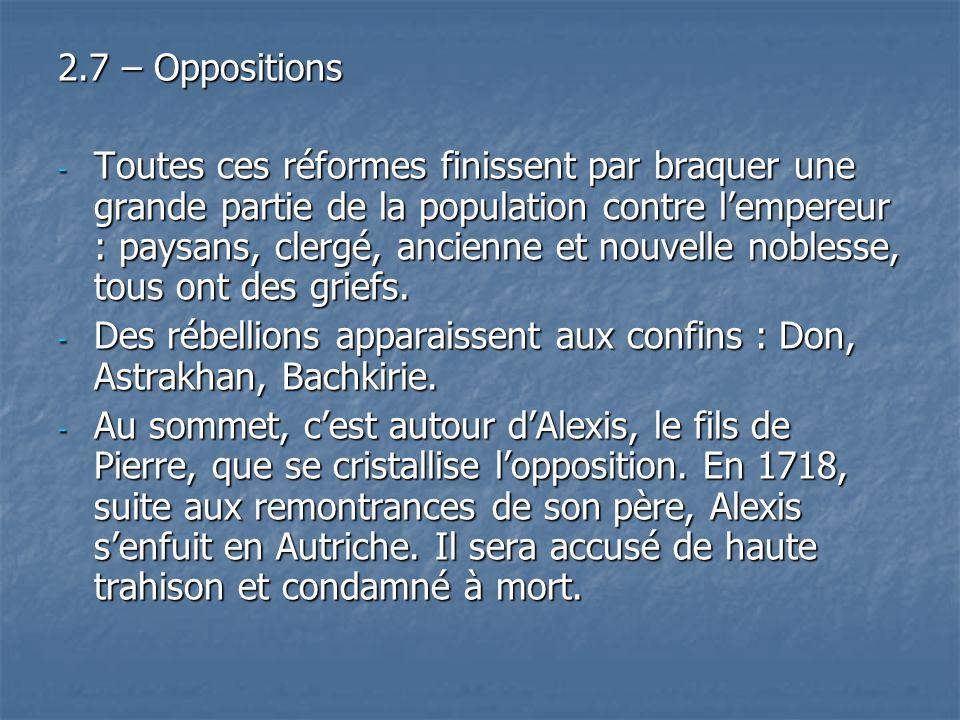 2.7 – Oppositions - Toutes ces réformes finissent par braquer une grande partie de la population contre lempereur : paysans, clergé, ancienne et nouve