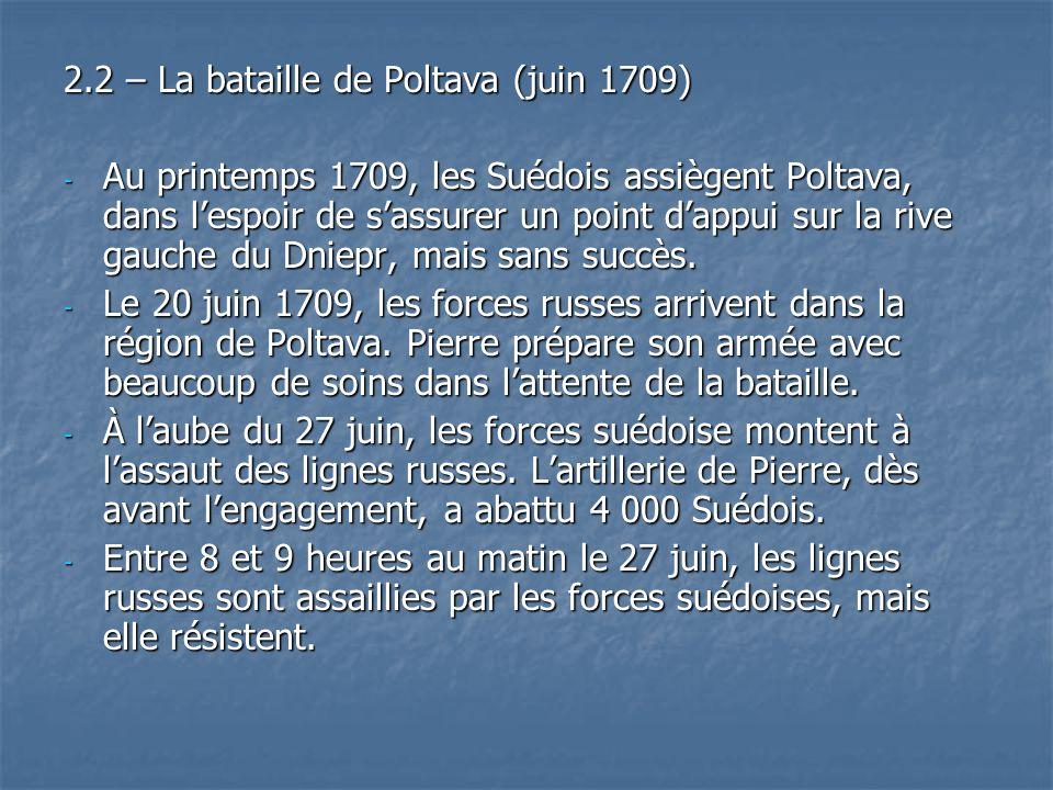 2.2 – La bataille de Poltava (juin 1709) - Au printemps 1709, les Suédois assiègent Poltava, dans lespoir de sassurer un point dappui sur la rive gauc