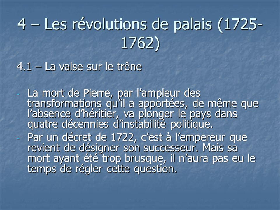 4 – Les révolutions de palais (1725- 1762) 4.1 – La valse sur le trône - La mort de Pierre, par lampleur des transformations quil a apportées, de même
