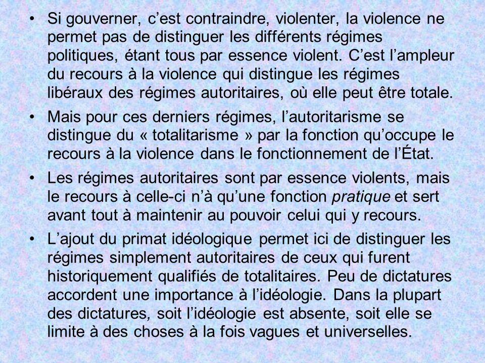 Si gouverner, cest contraindre, violenter, la violence ne permet pas de distinguer les différents régimes politiques, étant tous par essence violent.