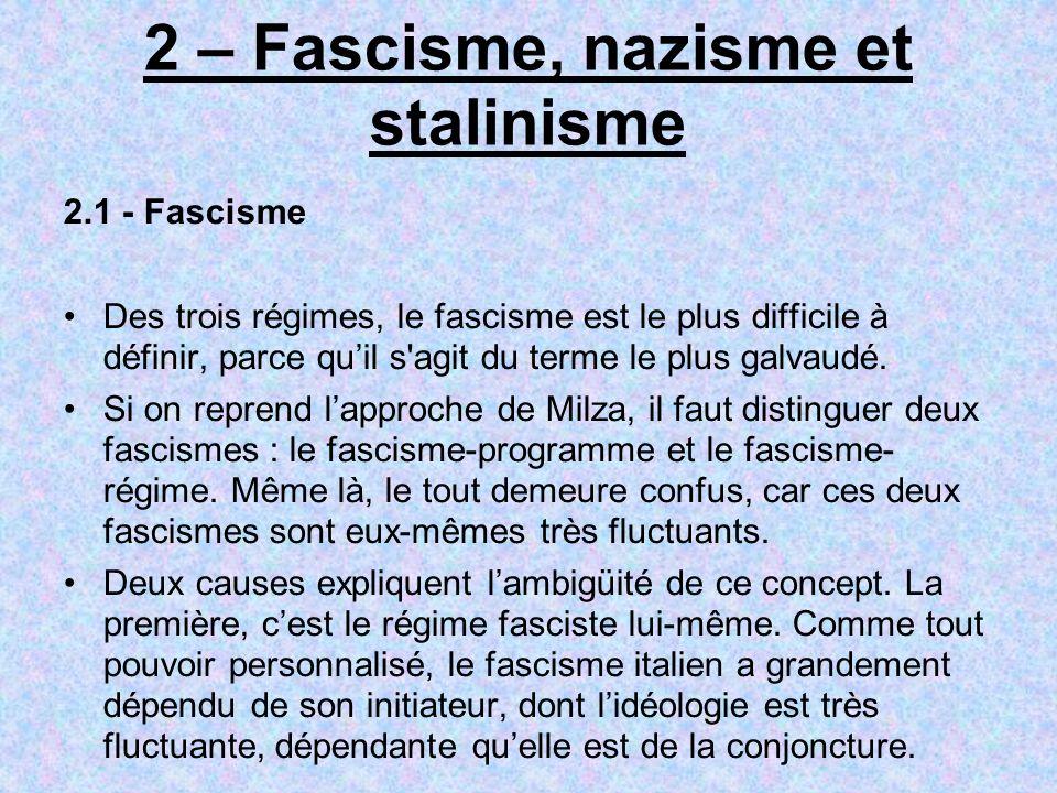 2 – Fascisme, nazisme et stalinisme 2.1 - Fascisme Des trois régimes, le fascisme est le plus difficile à définir, parce quil s'agit du terme le plus