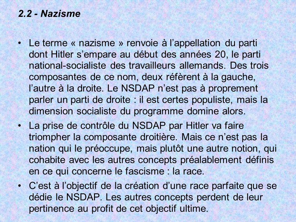 2.2 - Nazisme Le terme « nazisme » renvoie à lappellation du parti dont Hitler sempare au début des années 20, le parti national-socialiste des travailleurs allemands.