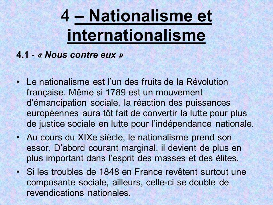 4 – Nationalisme et internationalisme 4.1 - « Nous contre eux » Le nationalisme est lun des fruits de la Révolution française.