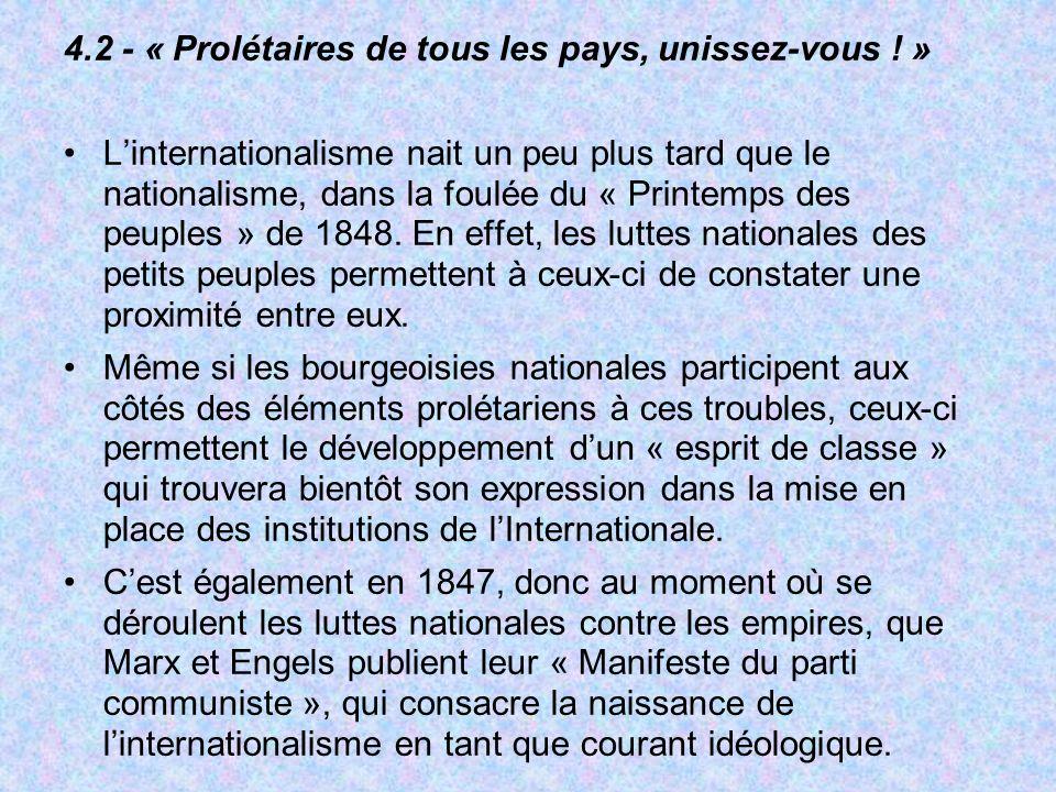 4.2 - « Prolétaires de tous les pays, unissez-vous ! » Linternationalisme nait un peu plus tard que le nationalisme, dans la foulée du « Printemps des