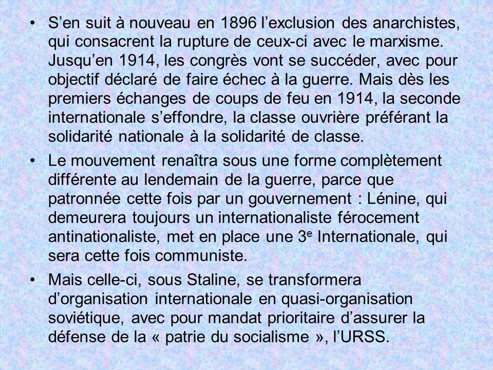 Sen suit à nouveau en 1896 lexclusion des anarchistes, qui consacrent la rupture de ceux-ci avec le marxisme. Jusquen 1914, les congrès vont se succéd