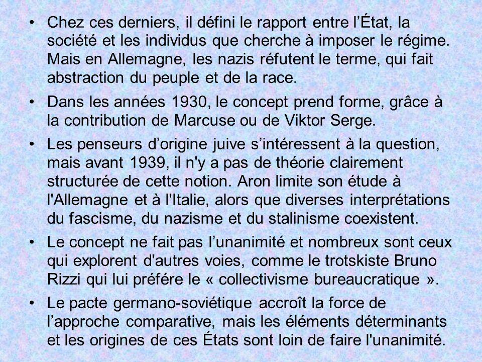 Chez ces derniers, il défini le rapport entre lÉtat, la société et les individus que cherche à imposer le régime. Mais en Allemagne, les nazis réfuten