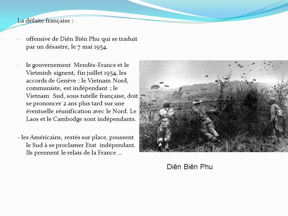 La défaite française : - offensive de Diên Biên Phu qui se traduit par un désastre, le 7 mai 1954.