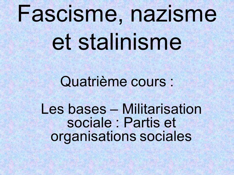 Fascisme, nazisme et stalinisme Quatrième cours : Les bases – Militarisation sociale : Partis et organisations sociales