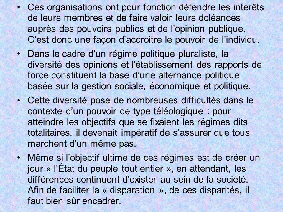Ces organisations ont pour fonction défendre les intérêts de leurs membres et de faire valoir leurs doléances auprès des pouvoirs publics et de lopini