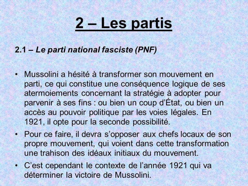 2 – Les partis 2.1 – Le parti national fasciste (PNF) Mussolini a hésité à transformer son mouvement en parti, ce qui constitue une conséquence logiqu
