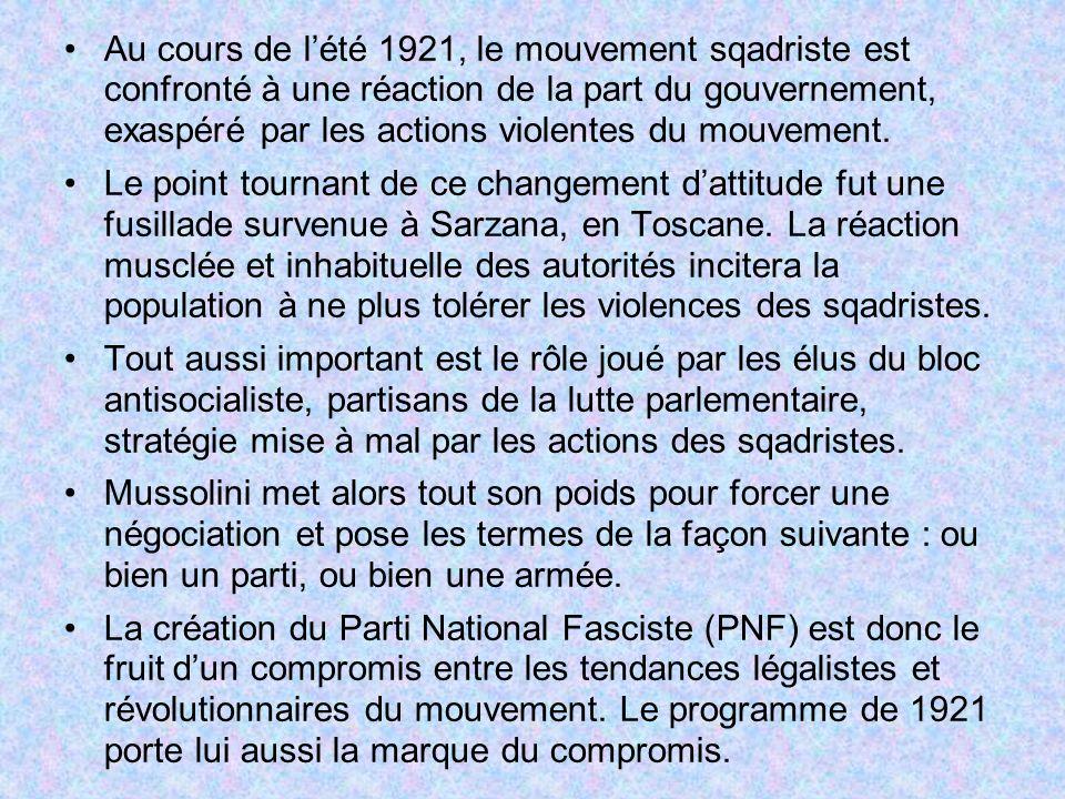 Au cours de lété 1921, le mouvement sqadriste est confronté à une réaction de la part du gouvernement, exaspéré par les actions violentes du mouvement