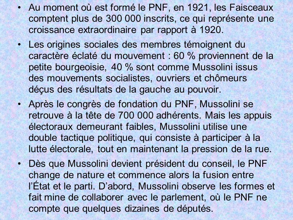 Au moment où est formé le PNF, en 1921, les Faisceaux comptent plus de 300 000 inscrits, ce qui représente une croissance extraordinaire par rapport à