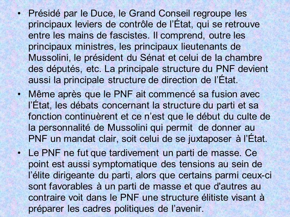 Présidé par le Duce, le Grand Conseil regroupe les principaux leviers de contrôle de lÉtat, qui se retrouve entre les mains de fascistes. Il comprend,