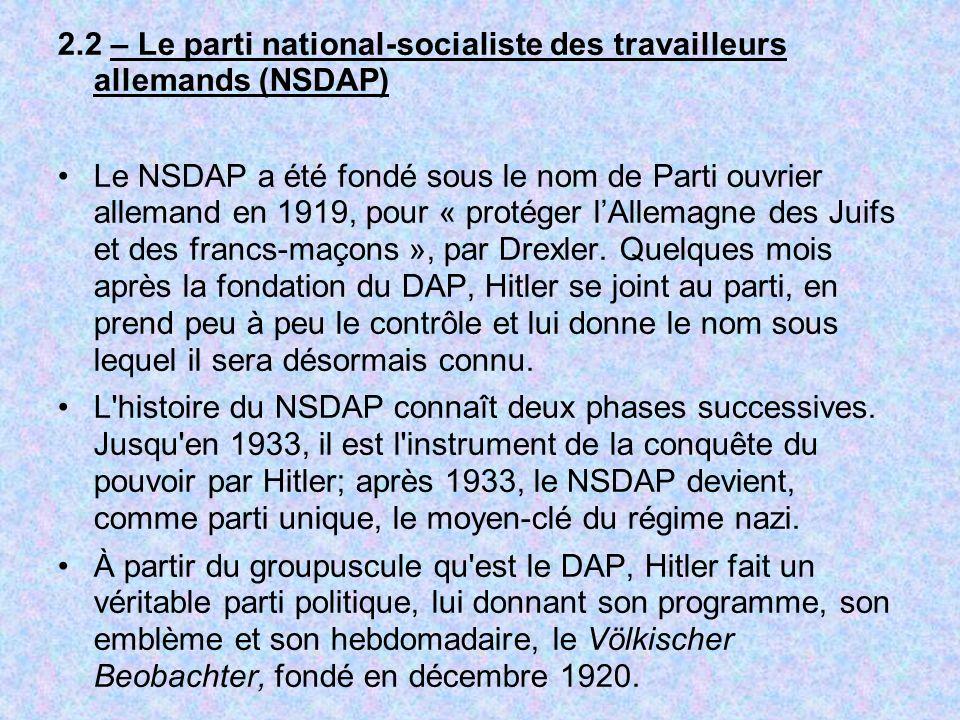 2.2 – Le parti national-socialiste des travailleurs allemands (NSDAP) Le NSDAP a été fondé sous le nom de Parti ouvrier allemand en 1919, pour « proté