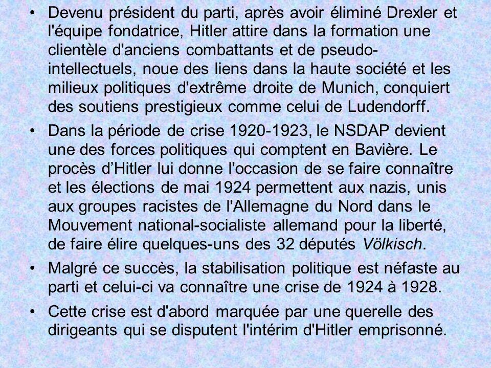 Devenu président du parti, après avoir éliminé Drexler et l'équipe fondatrice, Hitler attire dans la formation une clientèle d'anciens combattants et