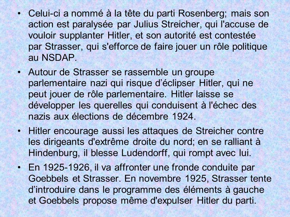 Celui-ci a nommé à la tête du parti Rosenberg; mais son action est paralysée par Julius Streicher, qui l'accuse de vouloir supplanter Hitler, et son a