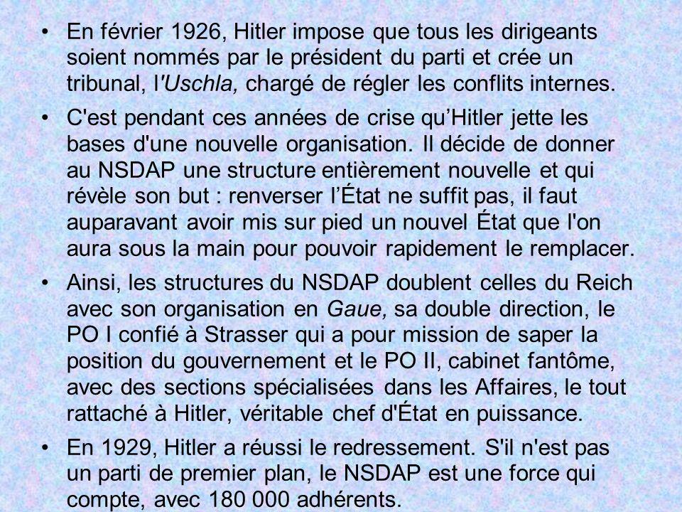 En février 1926, Hitler impose que tous les dirigeants soient nommés par le président du parti et crée un tribunal, l'Uschla, chargé de régler les con