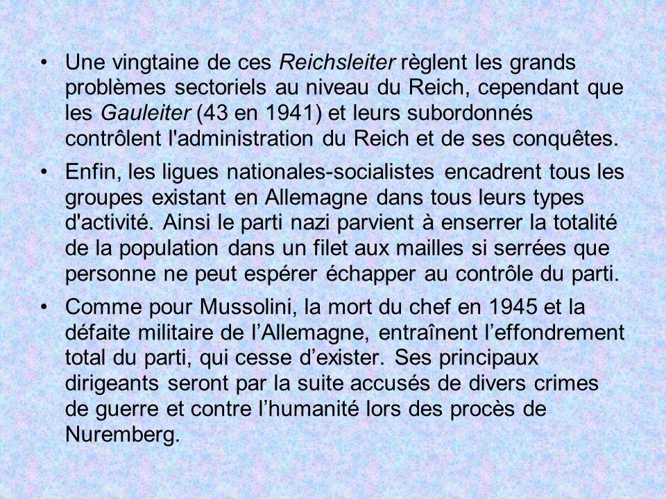Une vingtaine de ces Reichsleiter règlent les grands problèmes sectoriels au niveau du Reich, cependant que les Gauleiter (43 en 1941) et leurs subord