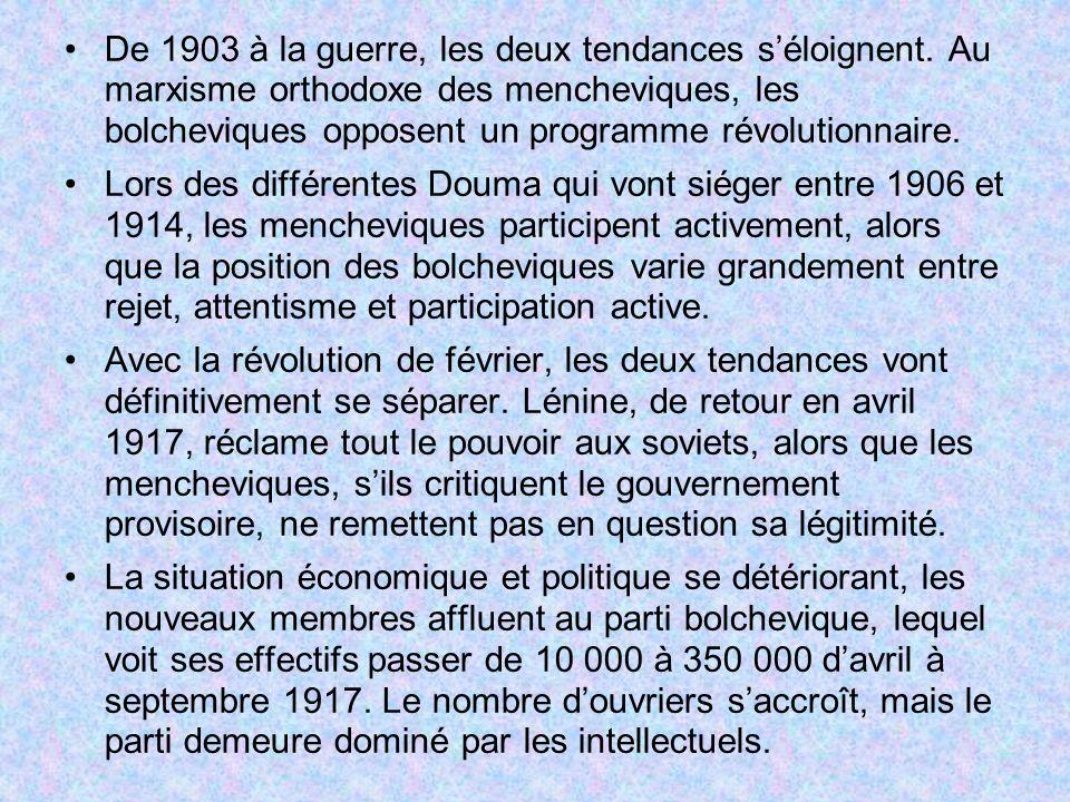 De 1903 à la guerre, les deux tendances séloignent. Au marxisme orthodoxe des mencheviques, les bolcheviques opposent un programme révolutionnaire. Lo