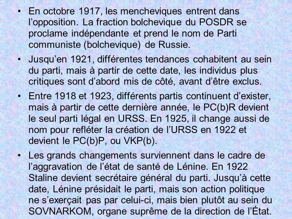 En octobre 1917, les mencheviques entrent dans lopposition. La fraction bolchevique du POSDR se proclame indépendante et prend le nom de Parti communi