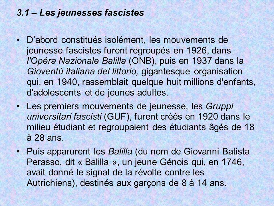 3.1 – Les jeunesses fascistes Dabord constitués isolément, les mouvements de jeunesse fascistes furent regroupés en 1926, dans l'Opéra Nazionale Balil