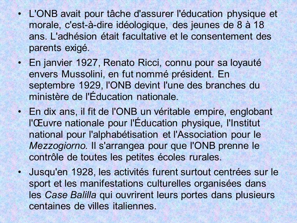 L'ONB avait pour tâche d'assurer l'éducation physique et morale, c'est-à-dire idéologique, des jeunes de 8 à 18 ans. L'adhésion était facultative et l