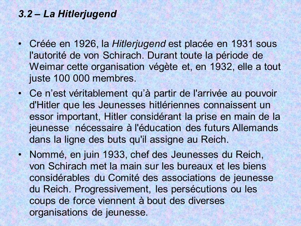 3.2 – La Hitlerjugend Créée en 1926, la Hitlerjugend est placée en 1931 sous l'autorité de von Schirach. Durant toute la période de Weimar cette organ