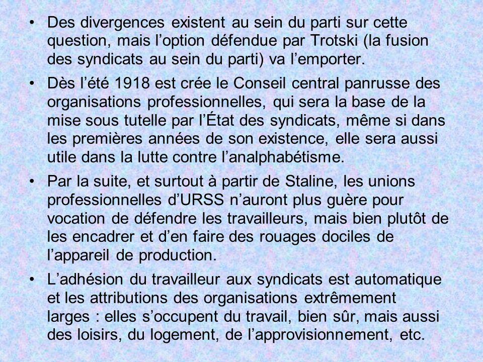 Des divergences existent au sein du parti sur cette question, mais loption défendue par Trotski (la fusion des syndicats au sein du parti) va lemporte
