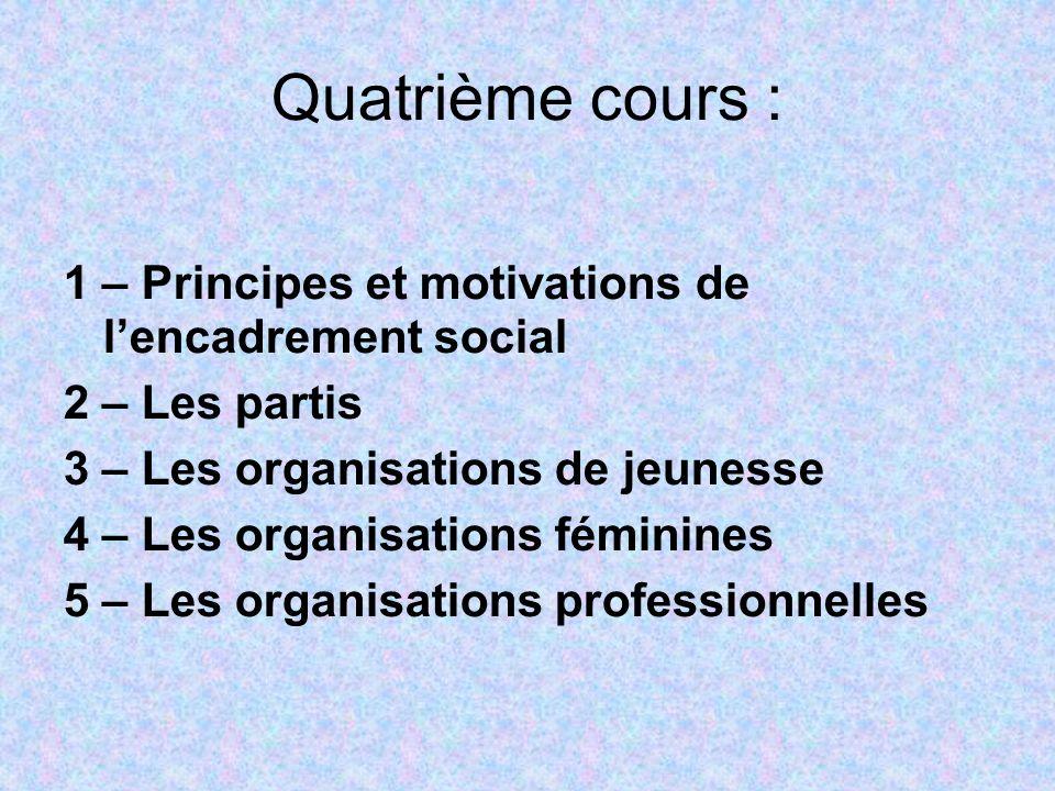 Quatrième cours : 1 – Principes et motivations de lencadrement social 2 – Les partis 3 – Les organisations de jeunesse 4 – Les organisations féminines