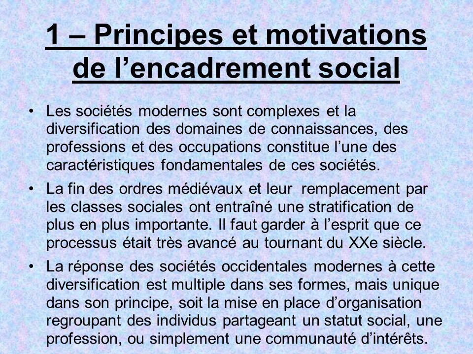 1 – Principes et motivations de lencadrement social Les sociétés modernes sont complexes et la diversification des domaines de connaissances, des prof