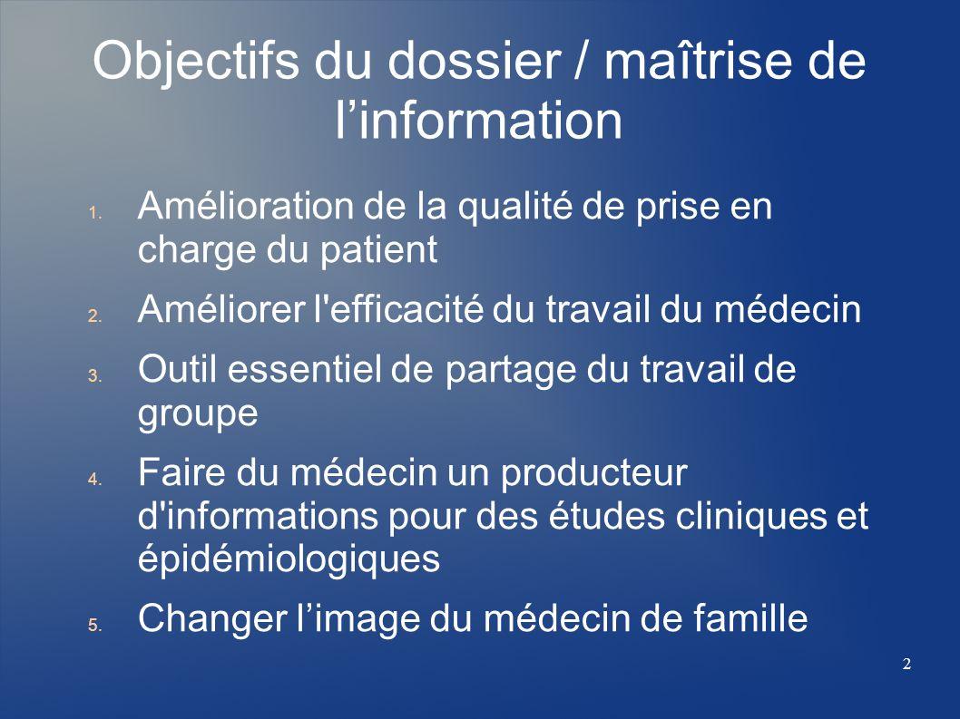 Objectifs du dossier / maîtrise de linformation 1. Amélioration de la qualité de prise en charge du patient 2. Améliorer l'efficacité du travail du mé