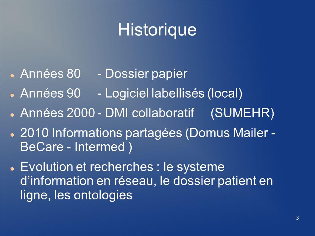 Historique Années 80 - Dossier papier Années 90 - Logiciel labellisés (local) Années 2000- DMI collaboratif (SUMEHR) 2010 Informations partagées (Domu