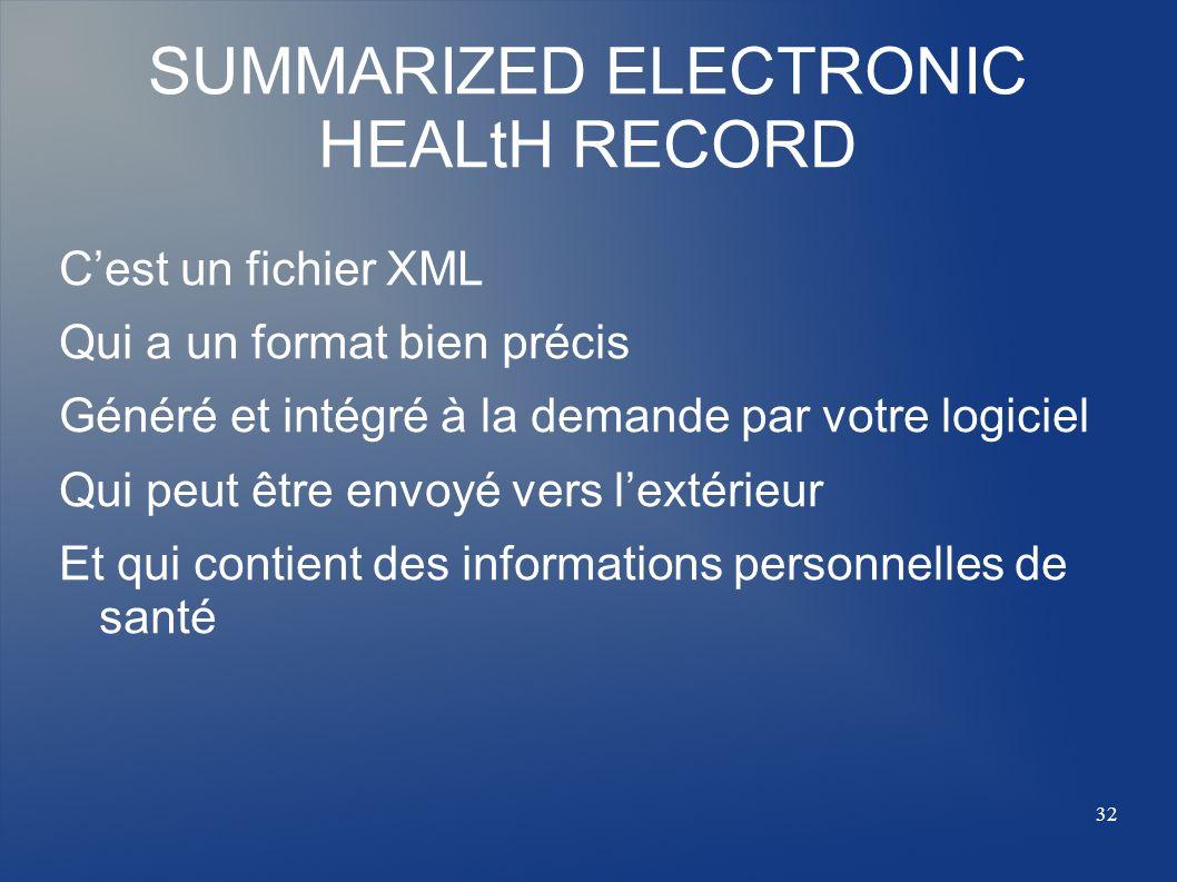 SUMMARIZED ELECTRONIC HEALtH RECORD Cest un fichier XML Qui a un format bien précis Généré et intégré à la demande par votre logiciel Qui peut être en