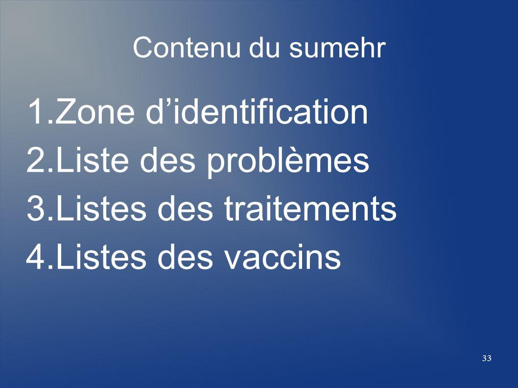 Contenu du sumehr 1.Zone didentification 2.Liste des problèmes 3.Listes des traitements 4.Listes des vaccins 33