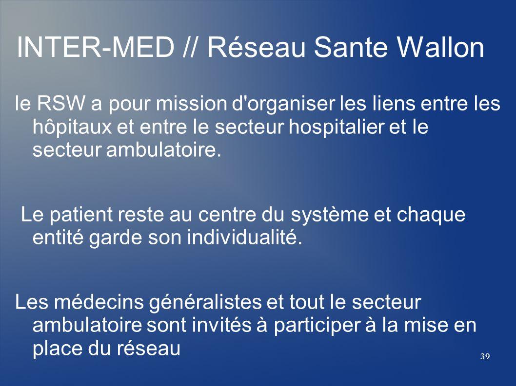 le RSW a pour mission d'organiser les liens entre les hôpitaux et entre le secteur hospitalier et le secteur ambulatoire. Le patient reste au centre d