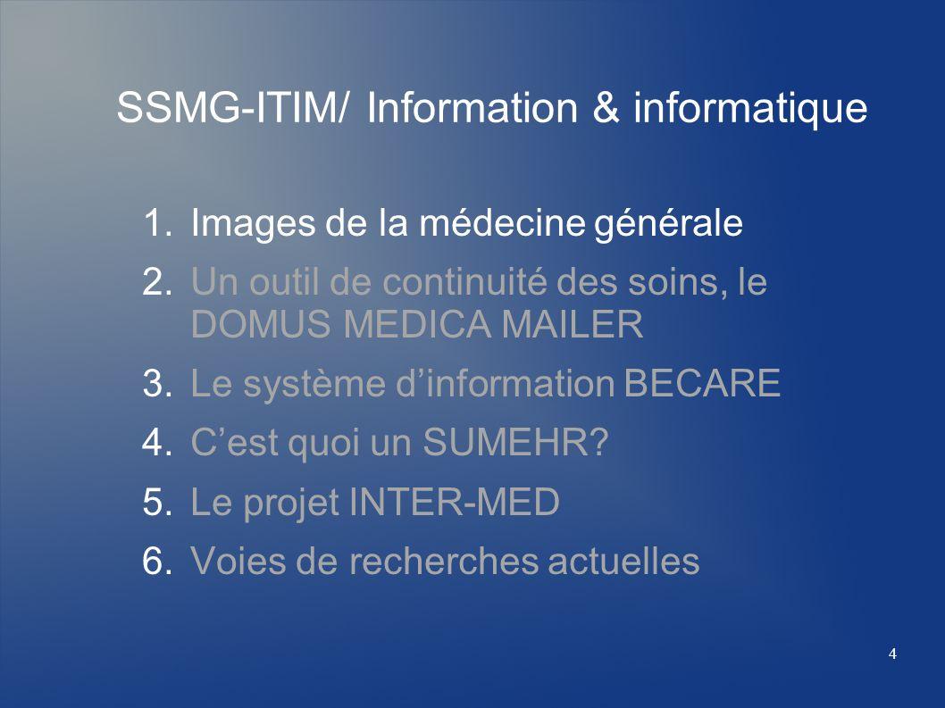 SSMG-ITIM/ Information & informatique 1.Images de la médecine générale 2.Un outil de continuité des soins, le DOMUS MEDICA MAILER 3.Le système dinform