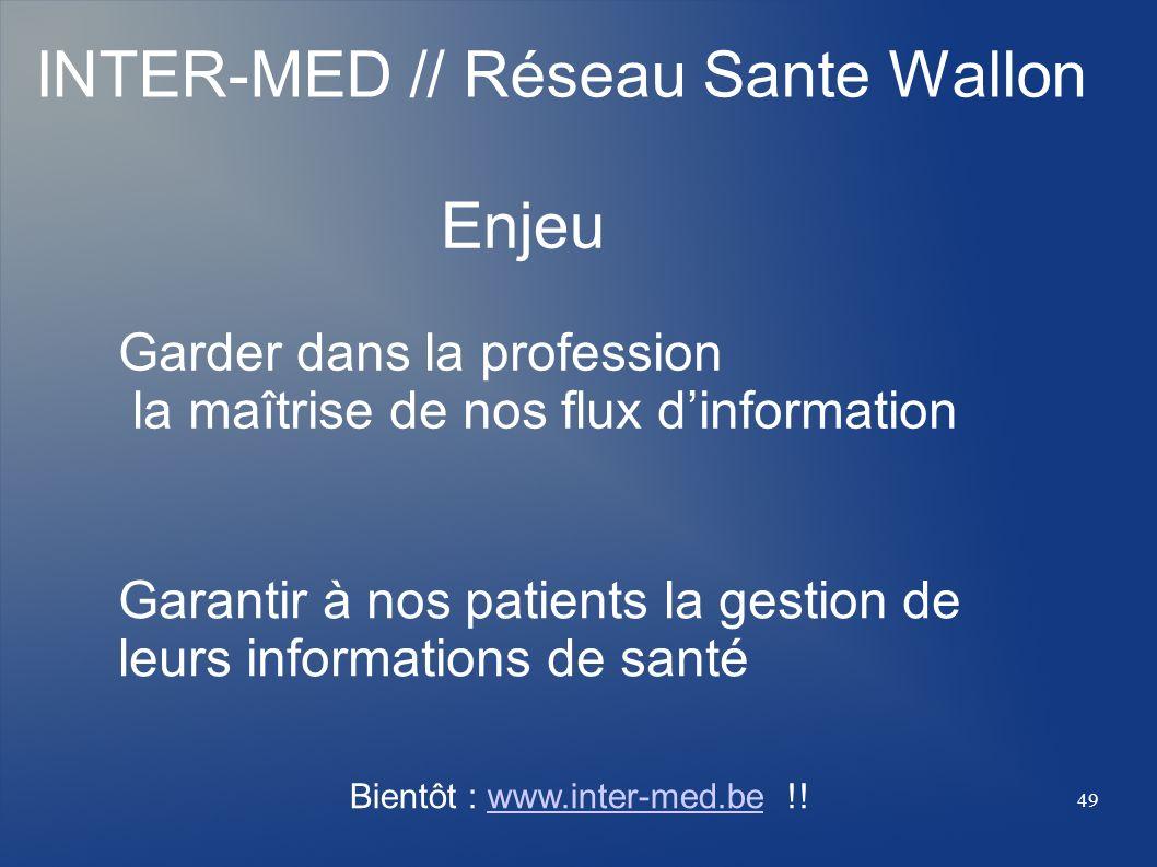 INTER-MED // Réseau Sante Wallon Enjeu Garder dans la profession la maîtrise de nos flux dinformation Garantir à nos patients la gestion de leurs info