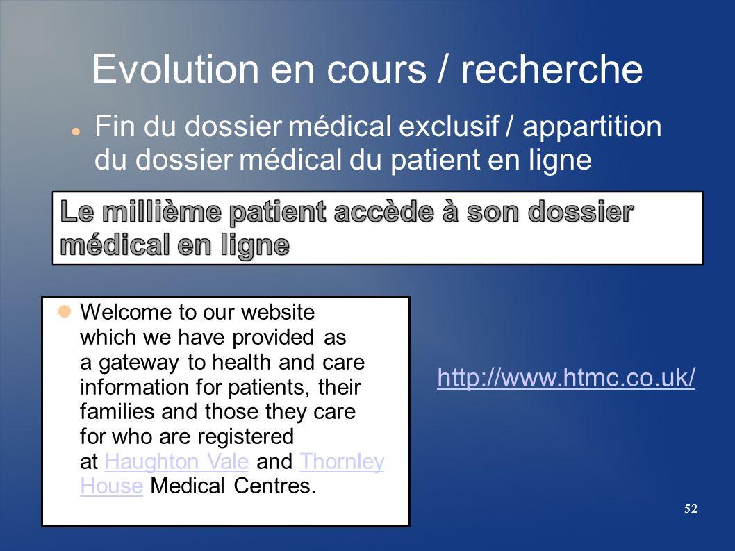 Evolution en cours / recherche Fin du dossier médical exclusif / appartition du dossier médical du patient en ligne Welcome to our website which we ha
