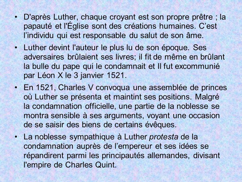 D'après Luther, chaque croyant est son propre prêtre ; la papauté et l'Église sont des créations humaines. Cest lindividu qui est responsable du salut