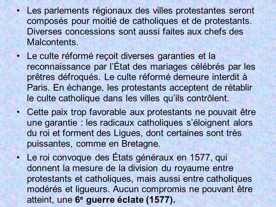 Les parlements régionaux des villes protestantes seront composés pour moitié de catholiques et de protestants. Diverses concessions sont aussi faites