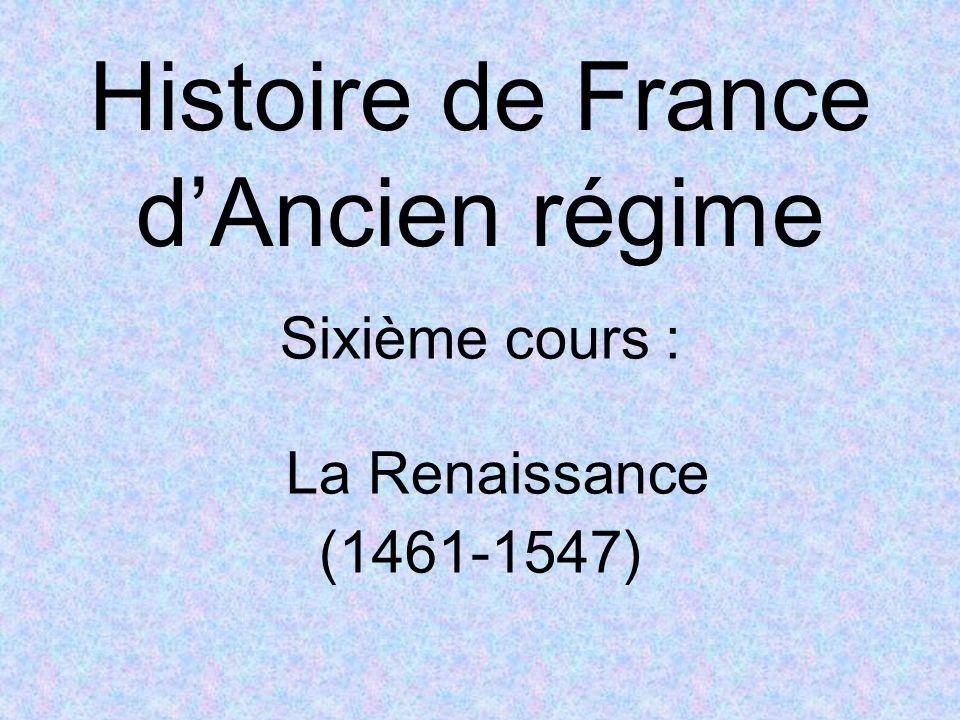 Sixième cours : 1 – Louis XI, « luniverselle araigne » (1461-1483) 2 – Charles VIII et Louis XII 3 – Sa Majesté François 1 er (1515-1547) 4 – La Renaissance