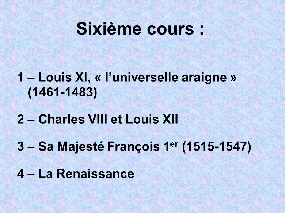 Sixième cours : 1 – Louis XI, « luniverselle araigne » (1461-1483) 2 – Charles VIII et Louis XII 3 – Sa Majesté François 1 er (1515-1547) 4 – La Renai