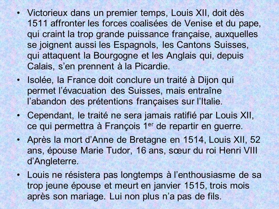 Victorieux dans un premier temps, Louis XII, doit dès 1511 affronter les forces coalisées de Venise et du pape, qui craint la trop grande puissance fr