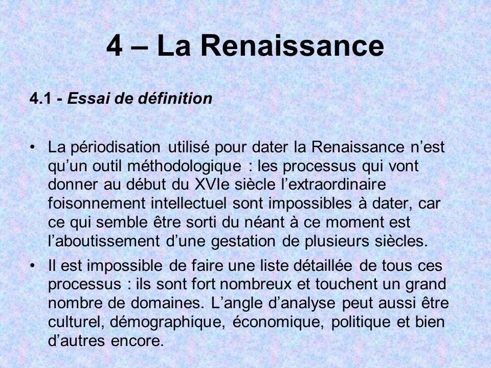 4 – La Renaissance 4.1 - Essai de définition La périodisation utilisé pour dater la Renaissance nest quun outil méthodologique : les processus qui von