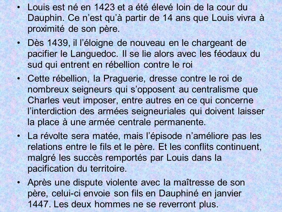 Entre 1447 et 1456, Louis dirige le Dauphiné, y mettant à lessai certaines des politiques quil suivra plus tard : il structure une armée, réglemente la chasse, lexploitation des forêts, interdit les guerres entre seigneurs, etc.