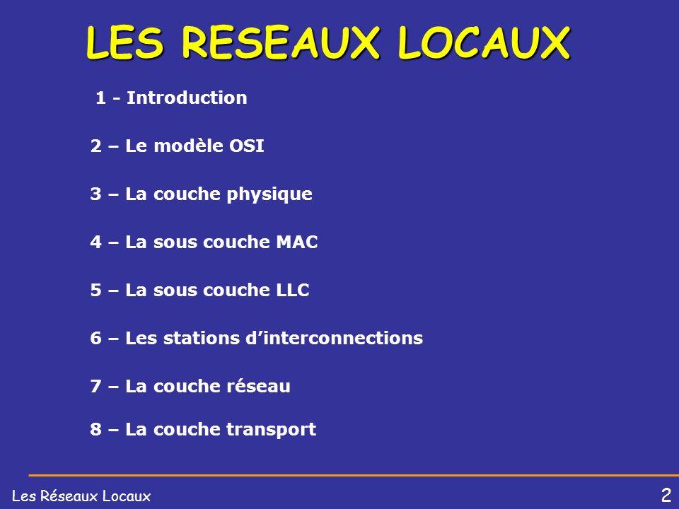 2 Les Réseaux Locaux LES RESEAUX LOCAUX 1 - Introduction 2 – Le modèle OSI 3 – La couche physique 4 – La sous couche MAC 5 – La sous couche LLC 6 – Les stations dinterconnections 8 – La couche transport 7 – La couche réseau