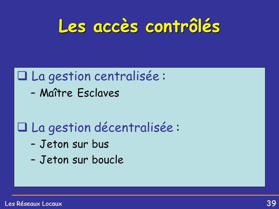 38 Les Réseaux Locaux Format des adresses 16 bitsI / GAdresse (15 bits) 48 bitsI / GU / LAdresse (46 bits) I / G0Adresse Individuelle.