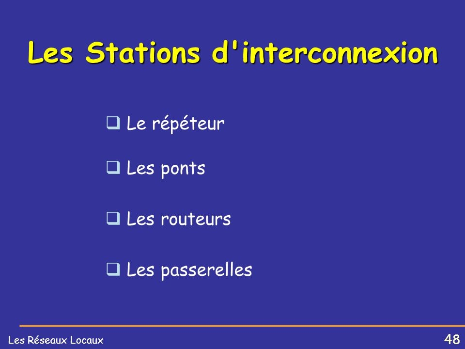 47 Les Réseaux Locaux LES RESEAUX LOCAUX Les Stations dinterconnexion