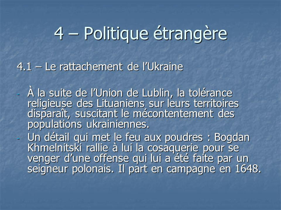 4 – Politique étrangère 4.1 – Le rattachement de lUkraine - À la suite de lUnion de Lublin, la tolérance religieuse des Lituaniens sur leurs territoir